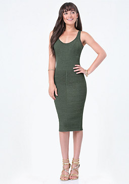 bebe Mix Rib Sweater Midi Dress