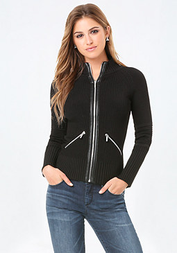 bebe Mock Neck Zip Cardigan