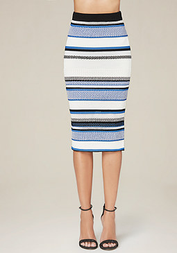 bebe Texture Striped Midi Skirt