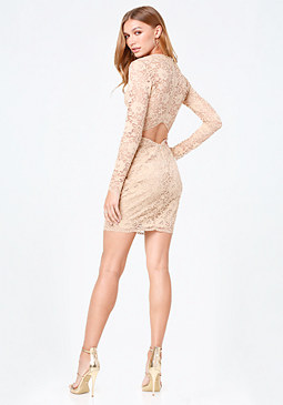 bebe Celia Lace Open Back Dress