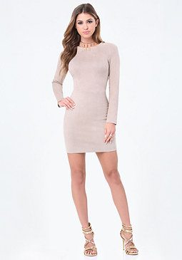 bebe Faux Suede Bodycon Dress