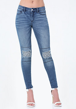 bebe Embellished Knee Jeans