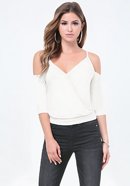 bebe Bare Shoulder Surplice Top