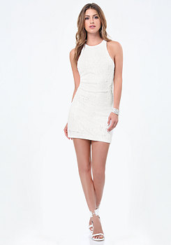 bebe Sequin Racerback Dress