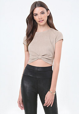 bebe Faux Suede Knot Crop Top