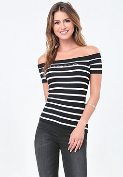 bebe Logo Off Shoulder Tee