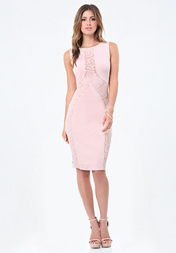 bebe Petite Lace & Ponte Dress