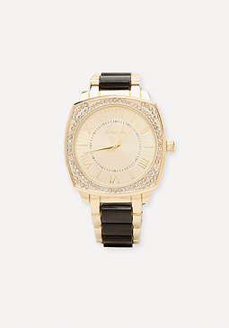 bebe Crystal Pave Square Watch