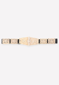 bebe Ornate Metal Stretch Belt