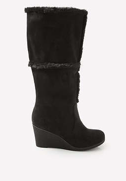bebe Fionaa Faux Fur Wedge Boots