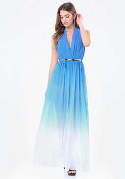 bebe Petite Ombre High Slit Gown