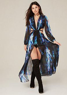 Petite Print Cutout Gown