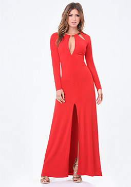bebe Petite Open Back Gown