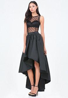 Petite Dot Mesh Hi-Lo Dress
