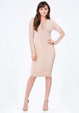 bebe Petite Lace Up Midi Dress