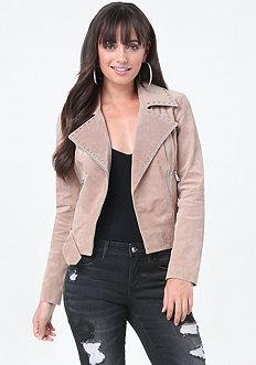 Studded Suede Moto Jacket