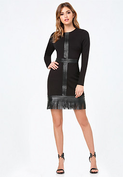 bebe Fringe Trim Ponte Dress