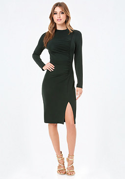 bebe Rachel Shirred Midi Dress