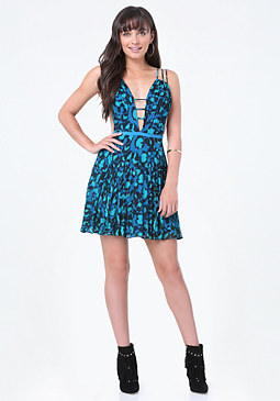 bebe Print Strappy Pleated Dress
