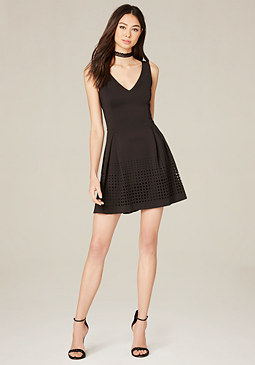 bebe Laser Cut Fit & Flare Dress