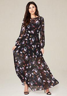 Print Pleated Maxi Dress