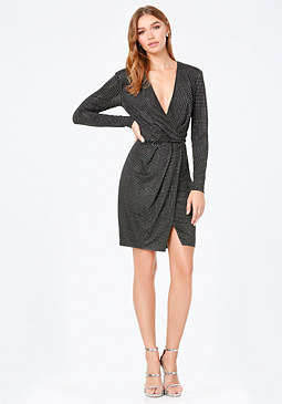 bebe Studded Surplice Dress