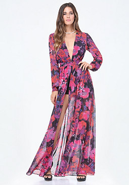 bebe Print Slit Shorts Gown
