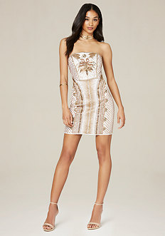 Beaded Strapless Mini Dress