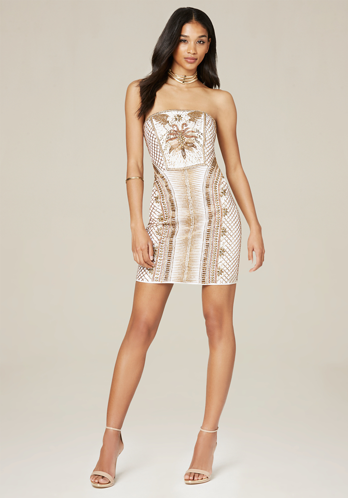 Beaded Strapless Mini Dress | bebe