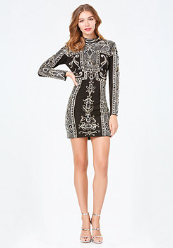 bebe Beaded Mock Neck Dress