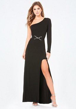 bebe Rachel High Slit Gown