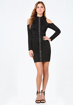 bebe Hook & Eye Shoulder Dress