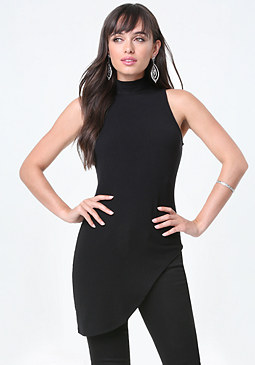 bebe Ribbed Asymmetric Tunic