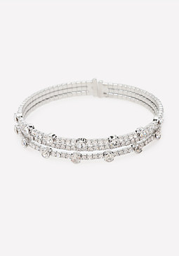 bebe Crystal Multi-Row Bracelet