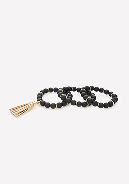 bebe Black Bead Bracelet Set