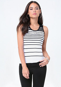 bebe Logo Stripe Sweater Tank