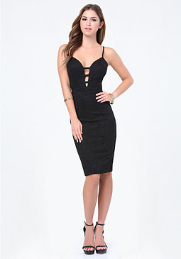 bebe Lace Cage Plunge Midi Dress