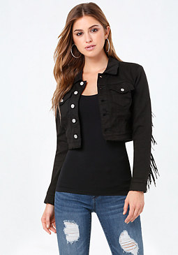 bebe Fringed Denim Jacket