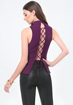 bebe Back Lace Up Mock Neck Top