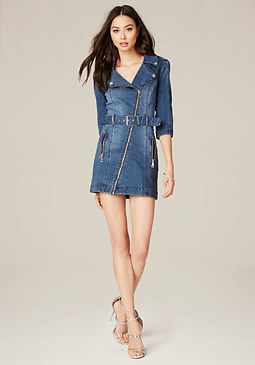 bebe Denim Moto Dress