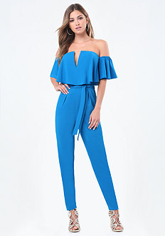Off Shoulder V Jumpsuit