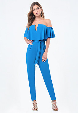 bebe Off Shoulder V Jumpsuit