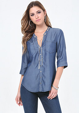 bebe Chain Trim Chambray Shirt