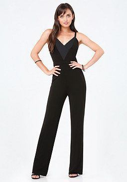 bebe Deep V Cutout Back Jumpsuit
