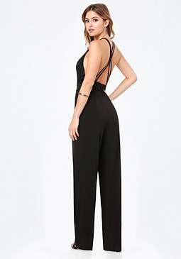 bebe Strappy Plunge Jumpsuit