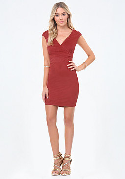 bebe Alina Faux Suede Dress