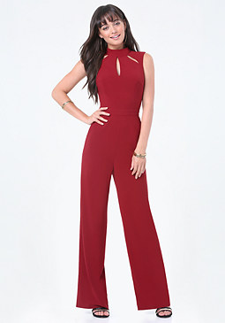 bebe Peekaboo Mock Neck Jumpsuit