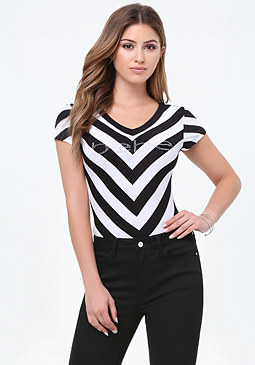 bebe Logo Striped Bodysuit