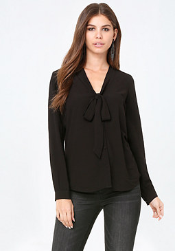 bebe Tie Neck Button Blouse