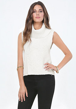 bebe Cowl Neck Back Wrap Sweater